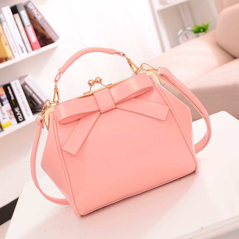 Candy Color Women PU Leather Bow Handbags Women Shoulder Bags Famous Brand 2017 Fashion Frame Bag Female Lady PU Leather Pink<br><br>Aliexpress