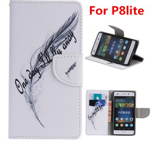 Free shipping promotion cost phone case for HUAWEI P8 Lite (5.0 inches)  Feather pu leather flip wallet for p8lite phonecase