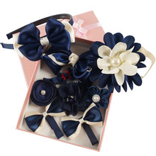 9 Pieces a Box Mix Style Girls' Hairbows Barrettes Floral Headbands and Hairbands Set with Clips and Elastic Bands for Children(China)
