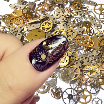 YZWLE 1 Pack Retro Golden Clock Gear Studs 3D DIY Nail Art Decoration For Manicure Salon