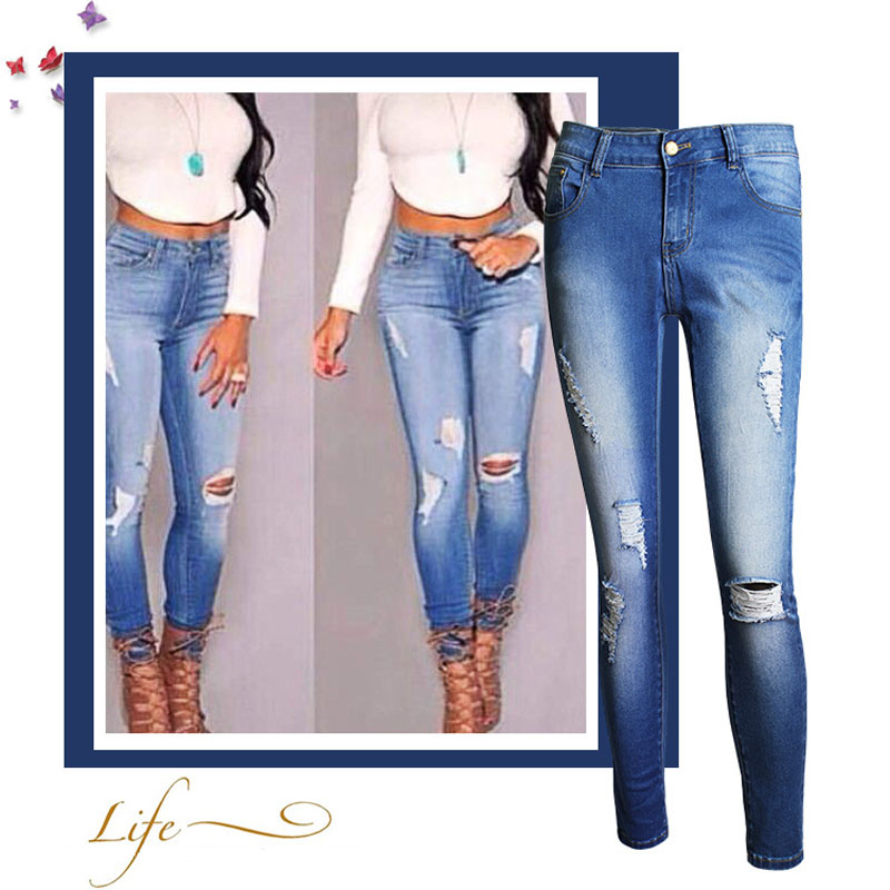 Free postage 2016 new high waist  female  ripped jeans pencil  Ladies jeansОдежда и ак�е��уары<br><br><br>Aliexpress