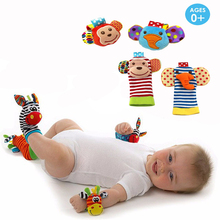 Infant baby toys bebe rattles/socks 2 pcs/set can make sound cute toy for baby boy and girl kids toy gift(China)