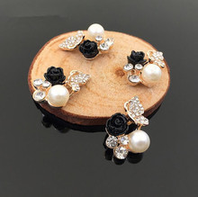 20pcs/lot  18*22mm gold black rose flower pearl rhinestone Embellishment Hair decoration accessories HBC388