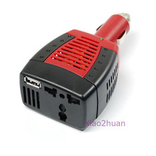 Car DC 12V to AC 220V 75W Power Inverter Adapter USB 5V(China)