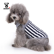 Duopi Spring Summer Dog Button Stripes Cotton Vest Pet Dog Clothing Black & Red Stripes T Shirt Puppy Cats Clothes Costume Ebay