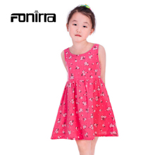 Summer Children Beach Girls Dress 2016 Teenagers Sleeveless Cotton Dress for Baby Girl Princess Style Children Toddler Vestidos