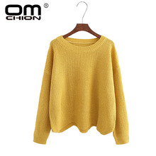 OMCHION Autumn 2017 O Neck Women Sweaters And Pullovers Casual Solid Waves Irregular Jumper Knitted Female Loose Variegate WMY80(China)