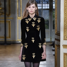 Buy Svoryxiu Fashion Designer Autumn Winter Dress Women's High Gold Line Embroidery Vintage Party Slim little Black Dresses for $47.59 in AliExpress store