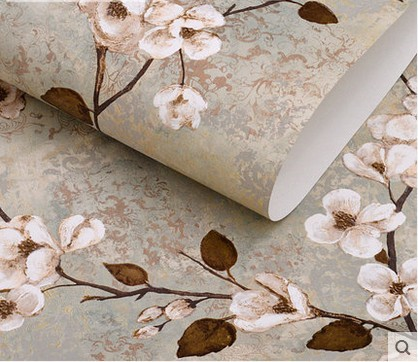 Household adornment classic American TV setting wall retro pastoral country wallpaper pure paper special offers big sweet flower<br><br>Aliexpress