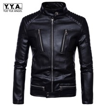 Buy Top Brand Punk Leather Jacket Men Multi Zipper PU Leather Jaqueta Motorcycle Stand Collar European Long Sleeve Winter Male Coat for $61.97 in AliExpress store