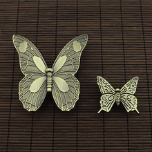 5PCS  Zinc Alloy Vintage Bronze Butterfly Handle Cabinet Drawer Cupboard Wardrobe Door Knobs pulls  2 Sizes S/L
