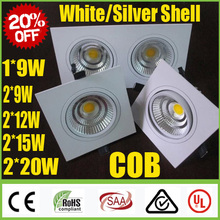 20% OFF White /Silver Square 1*9W 2*(9W 12W 15W 20W) Dimmable COB LED Downlights Fixture Recessed Ceiling Down Lights Lamps SAA