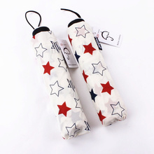 Concise Fresh and cool Stars Three-folding Manual Women and Wen Rain Clear Umbrella ladies umbrella(China)