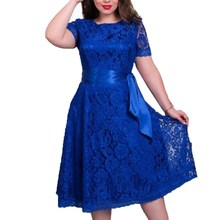 women spring autumn lace dress fit and flare solid short regular blue color empire o-neck mid-calf lace sashes dresses(China)