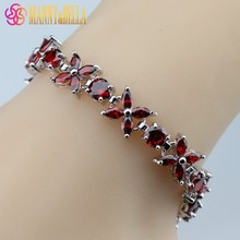 Fabulous Red Garnet 925 Sterling Silver Bracelet Health Fashion Jewelry For Women Free Jewelry Box SL66(China)