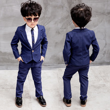 2017 Autumn Fashion Gentleman Kids Clothing Set Boys Formal Suit Boys Suits For Weddings Navy Blue Red Boy Blazers Suit Children