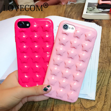 HOT For iPhone 7 Plus 6 6S Plus Back Cover Candy Color Plating Pink Stars Phone Case Soft Silicone TPU Shell Bag Coque With Rope