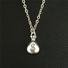 Novelty Accessories Stylish Antique Silver Tone Gorgeous Wallet Lucky US Money DOLLAR Bag Necklace Pendant Jewelry for Women Men(China)
