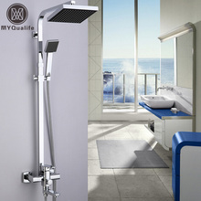 "Good Quality Chrome Bath Shower Mixer Faucet Rotate Tub Spout Wall Mount 8"" Rainfall Shower Head + Handshower"