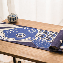 Japan style imitation wax printing blue carp flag antependium cloth Cotton linen TV ark dustproof cover tea table table cloth
