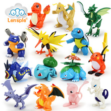 Lensple 8cm Pokemoned Pikachu Anime Cartoon can be assemble Action Figure Toy Collection Model Birthday Gifts For Kids(China)