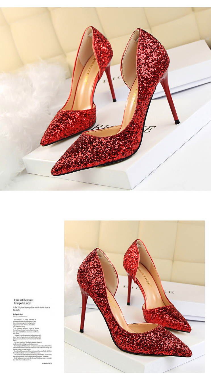 Women Pumps Sexy Glisten Women Shoes Wedding Party Dress Heels Women Hollow Shallow Mouth High Heels Stiletto 868-8 6