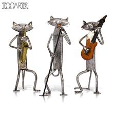 Tooarts Metal Figurine A Playing Guitar/Saxophone/Singing Cat Figurine Furnishing Articles Craft Gift For Home Decoration(China)