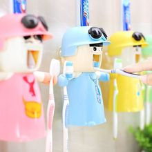 Harley Girl Cute Wash Set Cartoon doll Bathroom Toothbrush Holder With Suction Cup Automatic Toothpaste Dispenser Tooth mug(China)
