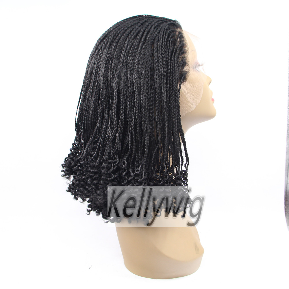 Free Ship Length 16-28 Glueless Lace Front Wig Black 1B Braid lace Wig Heat Resistant Hair Full Wig Synthetic Hair Medium Cap<br><br>Aliexpress