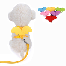 Cute Angel Pet Dog Harness Set Leads For Small Dogs Cats Designer Wing breast-band Dog collars leashes Pet Accessories(China)