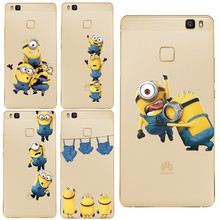 most popular Soft Silica TPU Cover Anti falling mobile phone shell Minion Mickey Cute Funny For Huawei P8 Lite P9 P9 Lite case(China)