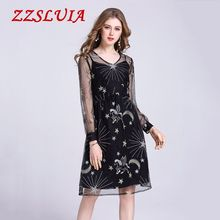 High quality 2018 new arrive fashion embroidery patchwork design V neck long sleeve slim women one piece dress LKH2304(China)