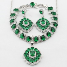 Charms Silver Color Green Created Emerald Necklace Pendant Earrings bracelet Women Dance Party Jewelry Sets Christmas Gifts