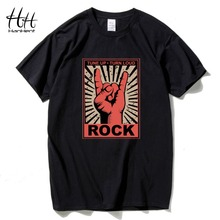 HanHent Rock and Roll Music T Shirts Men Short sleeve Cotton O-neck Punk Tee Shirt Hiphop Rap Men Streetwear Clothes 3D T-shirts