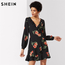 Buy SHEIN Elegant Dress Women Multicolor Floral Polka Dot Bishop Sleeve V Neck Mixed Print Ruffle Trim Surplice Wrap Dress for $17.99 in AliExpress store