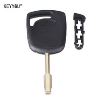 KEYYOU Transponder Uncut Blank Blade Key Shell For Ford Focus Mondeo KA Jaguar XJ8 Transit Connect Uncut No Chip with LOGO