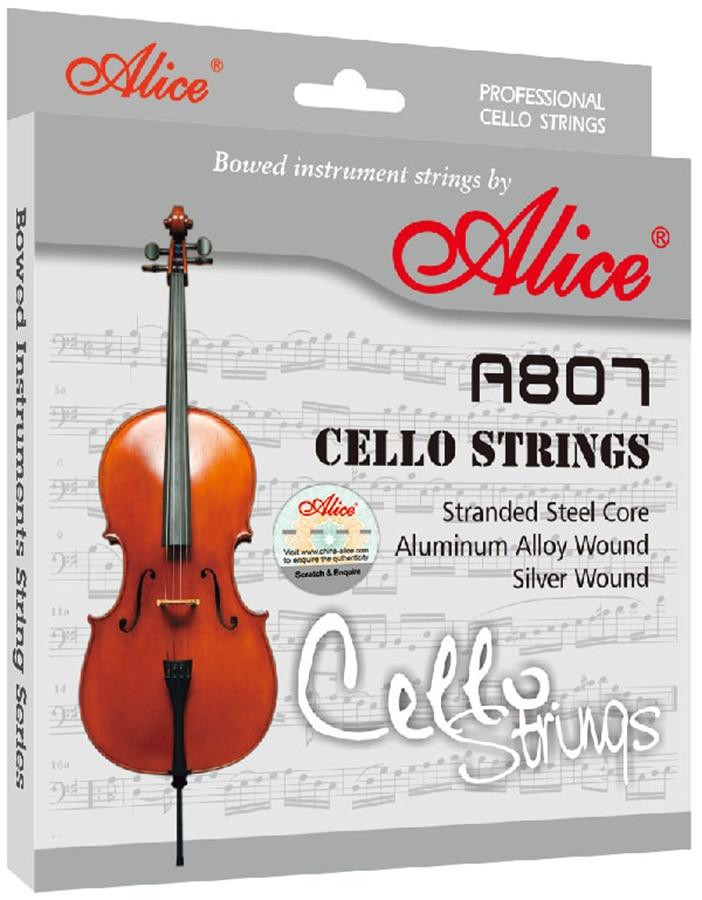 1 Set Cello Strings Stranded Steel Core Silver Wound Alice A806<br>