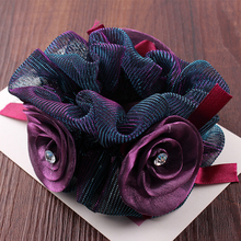 boutique chiffon rose flower lace women girls elastic hair rubber bands scrunchy accessories hair band ring rope headdress free