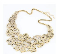 Buy Fashion Hollow Maxi Necklace Flower Vine Fake Collar Necklace Short Chain Ossicular metal Choker Collares Necklace Collier Femme for $2.23 in AliExpress store