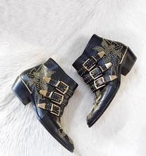 2017 New Leather Rivets Booties Buckle Straps Thick Heel Black Ankle Boots Studded Decorated Motorcycle Boots Woman Riding boots
