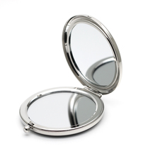 Silver Compact Mirror Dual Side blank Magnifying Costmetic Makeup Mirror Wedding gift idea M065P(China)