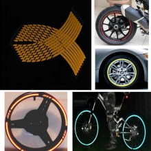 Yellow 16 Strips Wheel Sticker Reflective Motorcycle Car Rim Stripe Wheel Decal Tape(China)
