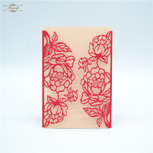 Ideal products laser cut elegant flower wedding invitations red