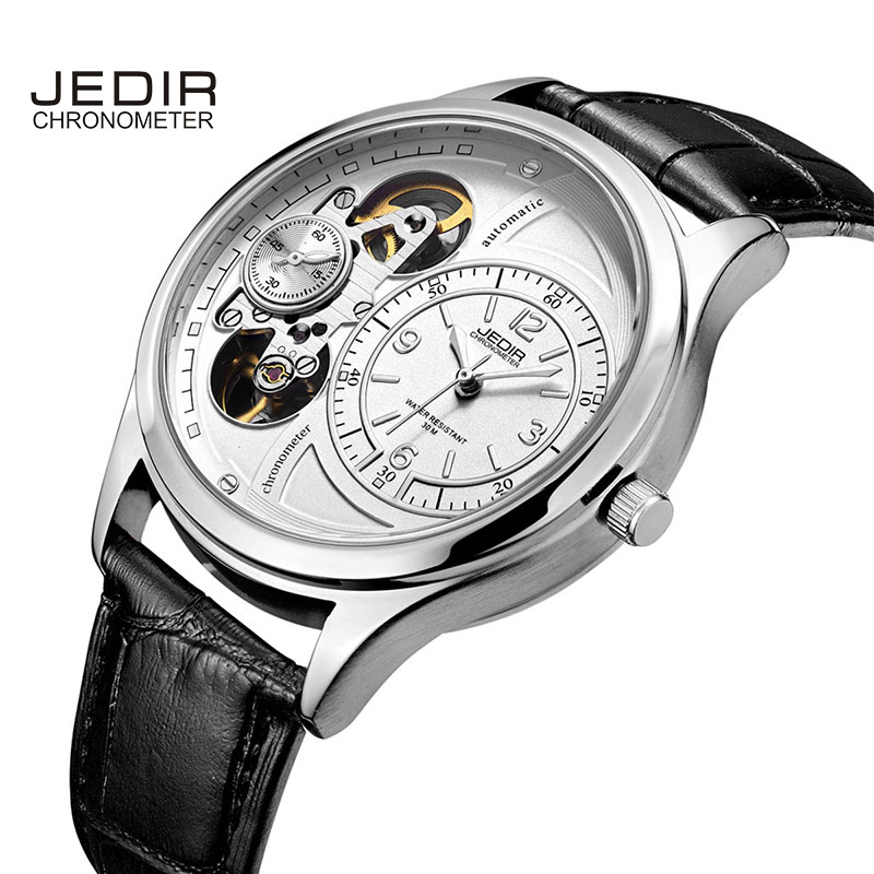 JEDIR Business Men Watch Stopwatch Hollow Dial Automatic Mechanical relog hombr Hardlex Wristwatch Male Hour relogio masculino<br>