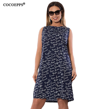 2017 New Summer Fashion Plus Size Women Dress Letter Print Femme Blackless Dresses Big Size Girls Sleeveless Casual Vestidos 6XL(China)