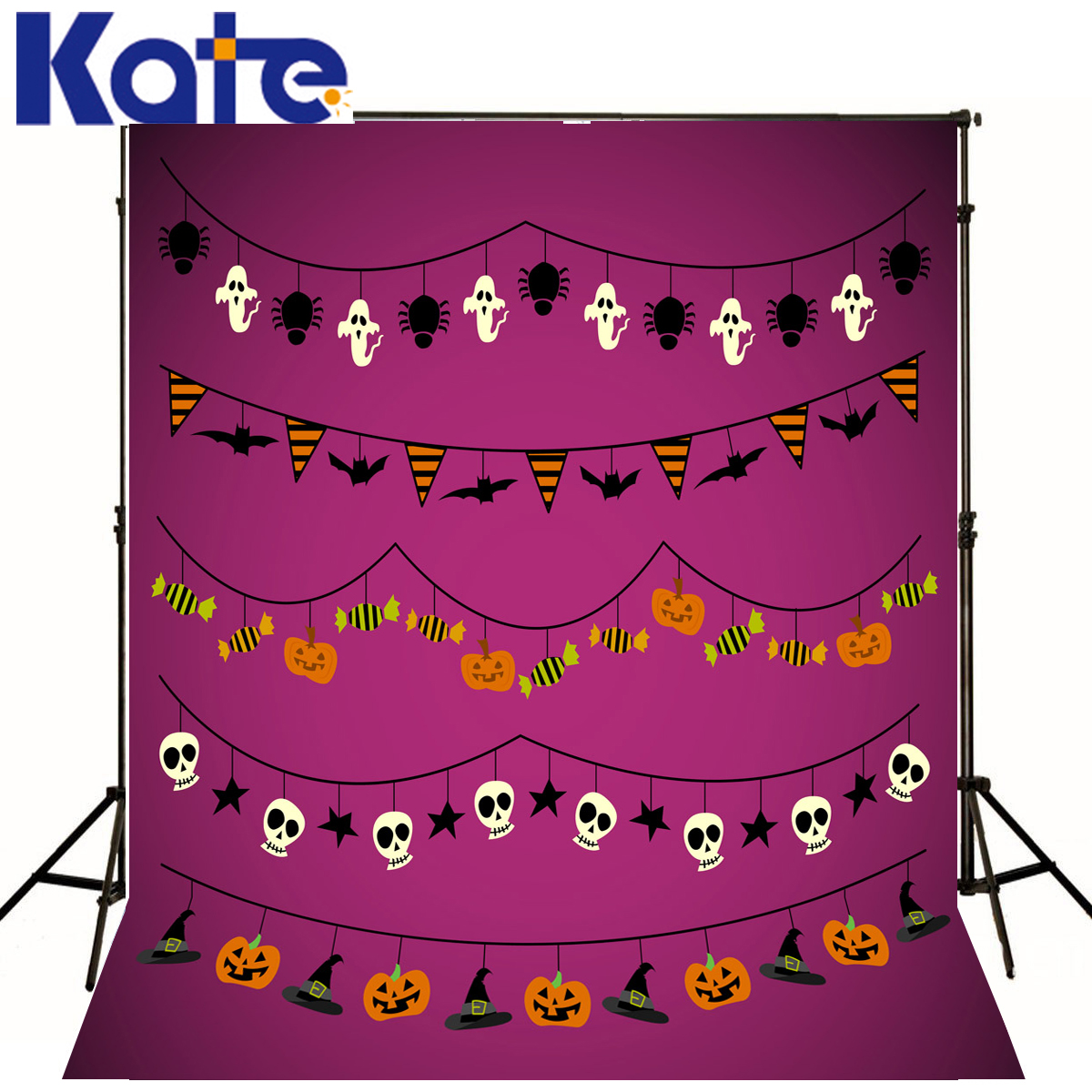 Photo Backdrops Purple Wall Skull Photography Backdrops Halloween Ghost Bat Flag Candy Photo Studio Background Backdrop<br>