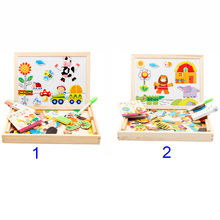 Children Kids Jigsaw Baby Easel Drawing Board Educational Magnetic Puzzle Farm Jungle Animal Wooden Toys BM88