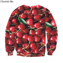 Cherry Bumper Harvest Harajuku Pullovers Sweatshirts For Women 2017 Winter Fashion Hoody Women Tracksuits Red  Suits