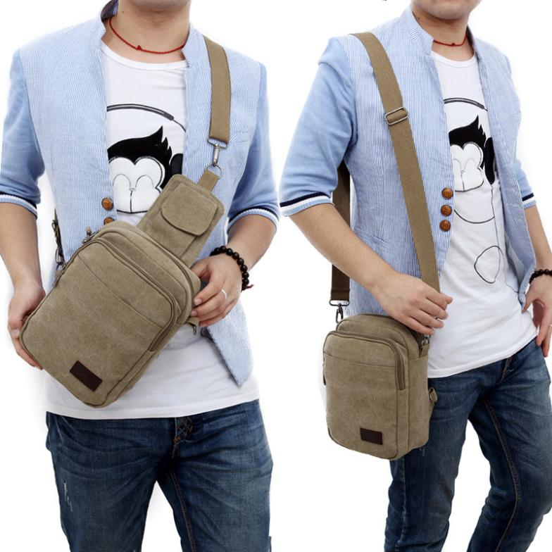 BEST  new casual men male chest pockets canvas  bag multifunction  small bag wholesale<br><br>Aliexpress