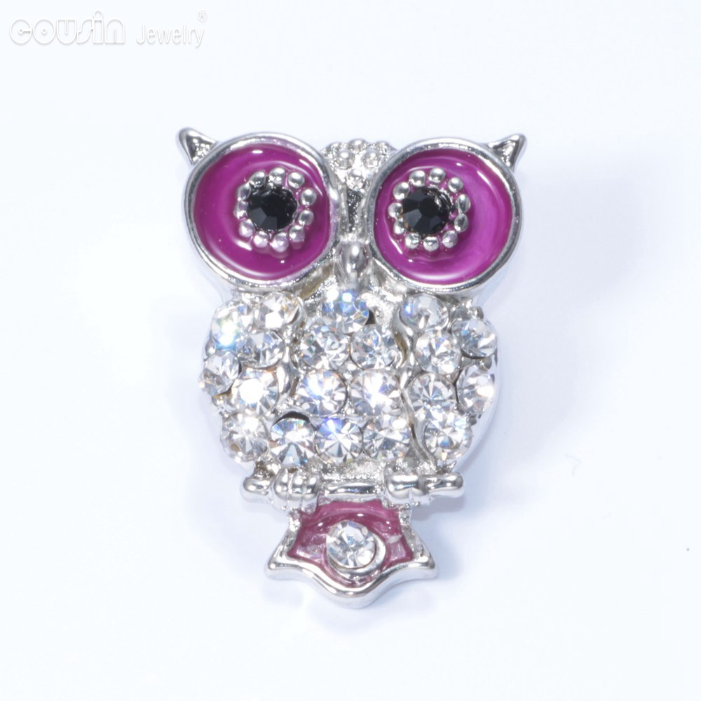 New Arrivals 18mm snap button Jewelry Rhinestone Glazed Owl snap button KZ0027e(China)